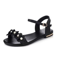 Vrouwen Echt leer Flat Heel Sandalen Flats Peep Toe met Imitatie Parel Gesp schoenen