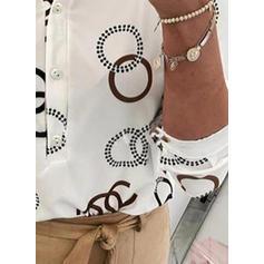 Geometryczny Klapa Długie rękawy Zapięcie na guzik Casual Bluski koszulowe