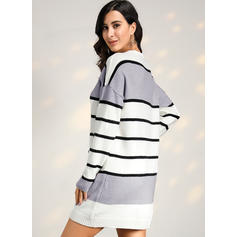 Color Block Striped Chunky knit Round Neck Casual Long Sweater Dress