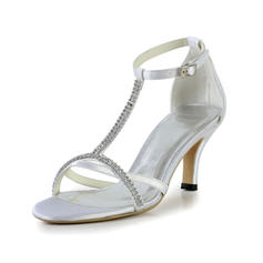 Women's Silk Like Satin Cone Heel Sandals With Buckle Rhinestone