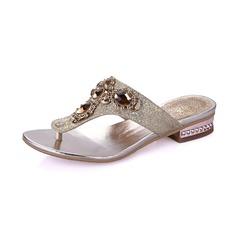 Frauen Funkelnde Glitzer Niederiger Absatz Sandalen Flache Schuhe Pantoffel mit Strass Kristall Schuhe