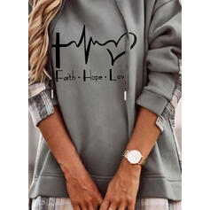 Print Figure Heart Long Sleeves Hoodie