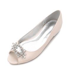 Femmes Soie comme du satin Talon plat Chaussures plates À bout ouvert avec Boucle