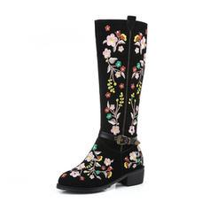 Femmes Vrai cuir Talon bottier Bottes Bottes hautes avec Une fleur chaussures