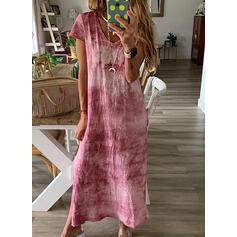 Tie Dye Short Sleeves Shift Casual/Vacation Maxi Dresses