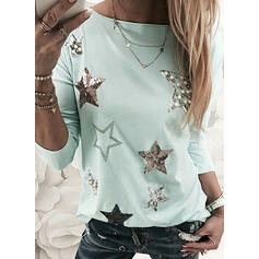 Beaded Sequins Round Neck Long Sleeves T-shirts