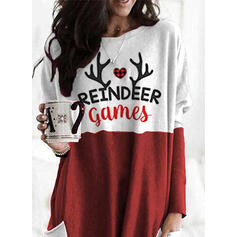 Print Heart Round Neck Long Sleeves Christmas Sweatshirt