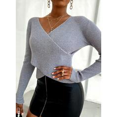 Einfarbig V-Ausschnitt Freizeit Eng Pullover