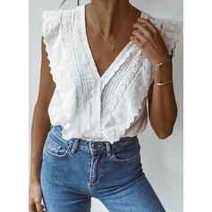 Lace V-Neck Sleeveless Casual Blouses