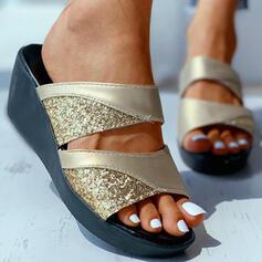 Femmes PU Talon compensé Sandales À bout ouvert avec Pailletes scintillantes chaussures