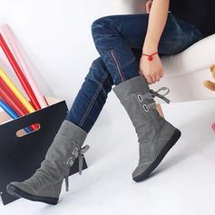 Femmes PU Talon compensé Bottes mi-mollets avec Dentelle chaussures