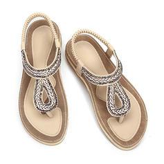 Mulheres PU Sem salto Sem salto Chinelos com Alça trançada sapatos