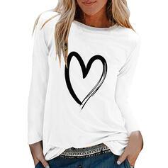 Estampado Gola Redonda Manga Comprida Casual Camisetas