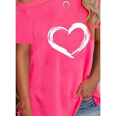 Corazón Impresión Un Hombre Manga Corta Camisetas