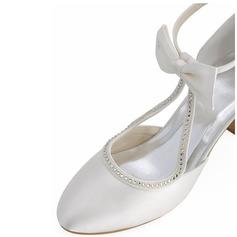Women's Silk Like Satin Stiletto Heel Pumps With Crystal