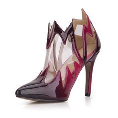 Femmes Cuir verni PVC Talon stiletto Escarpins Bout fermé Bottes Bottines chaussures