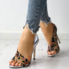 Donna PU Tacco a spillo Sandalo Punta aperta scarpe