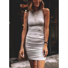 Solid Sleeveless Bodycon Above Knee Casual Dresses