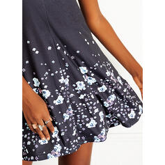 Print/Floral/Backless Sleeveless Sheath Above Knee Casual/Vacation Dresses