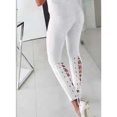 Einfarbig Geometrisch Kordelzug Lange Elegant Sexy Hosen