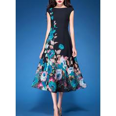 Print/Floral Sleeveless A-line Casual/Elegant Midi Dresses