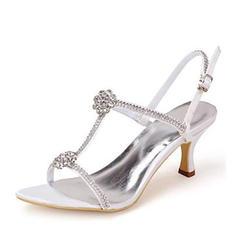 Vrouwen zijde als satijn Stiletto Heel Pumps Sandalen met Strass