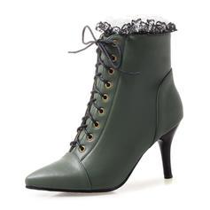 Femmes Similicuir Talon stiletto Bottes Bottines avec Dentelle chaussures