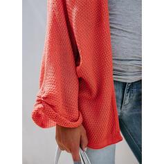 Jednobarevné Waflové pletení Kardigan