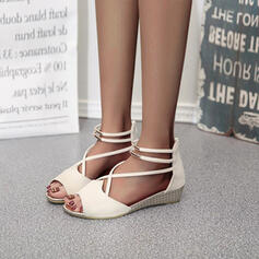 Women's PU Wedge Heel Sandals Wedges Peep Toe With Zipper shoes