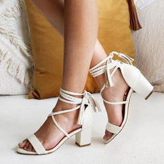 Women's PU Chunky Heel Sandals Pumps Peep Toe With Lace-up shoes