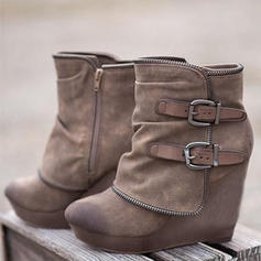 Women's Suede Wedge Heel Boots With Zipper shoes