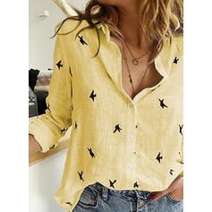 Print Lapel Long Sleeves Button Up Shirt Blouses