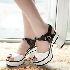 Women's PU Chunky Heel Sandals Pumps Platform Peep Toe Slingbacks With Buckle shoes