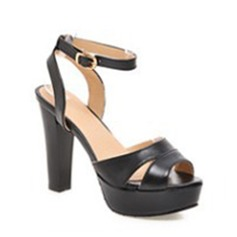 Women's Leatherette Stiletto Heel Peep Toe Sandals With Buckle