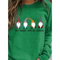 Print Streep Figuur Ronde nek Lange Mouwen Kerst Sweatshirt