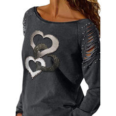 Print Beaded Heart Round Neck Long Sleeves Casual Blouses