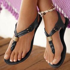 Frauen PU Flascher Absatz Sandalen Flache Schuhe mit Gummiband Schuhe