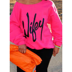 Print Figure One Shoulder Long Sleeves Sweatshirt