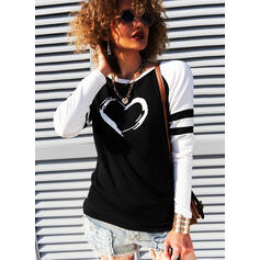 Print Color Block Heart Round Neck Long Sleeves Casual T-shirts