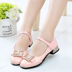Girl's Leatherette Flat Heel Closed Toe Flats Flower Girl Shoes With Rhinestone Velcro