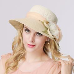 Signore Romantico Del organza/Rafia paglia con Fiore di seta Cappello di paglia