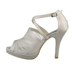 Frauen Spitze Satin Stöckel Absatz Peep Toe Absatzschuhe Sandalen
