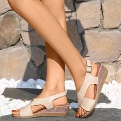 Dla kobiet PU Obcas Koturnowy Sandały Otwarty Nosek Buta Kapcie Z Bandaż W kratke obuwie