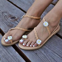 Women's PU Flat Heel Sandals Peep Toe With Flower shoes