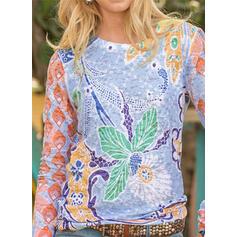 Imprimeu Guler Rotund Mâneci Lungi Tişörtler