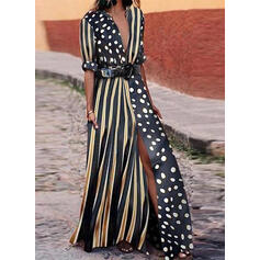 PolkaDot/Striped Long Sleeves A-line Casual/Vacation Maxi Dresses