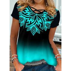 Gradient Print Round Neck Short Sleeves T-shirts