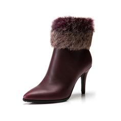Femmes Similicuir Talon stiletto Plateforme Bottines avec Fausse Fourrure chaussures