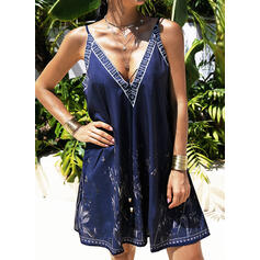 Print/Backless Sleeveless Shift Above Knee Sexy/Vacation Slip Dresses