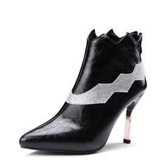 Femmes PU Talon stiletto Escarpins Bottines avec Semelle chaussures